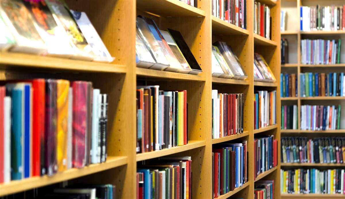 Libri e testi in libreria o biblioteca